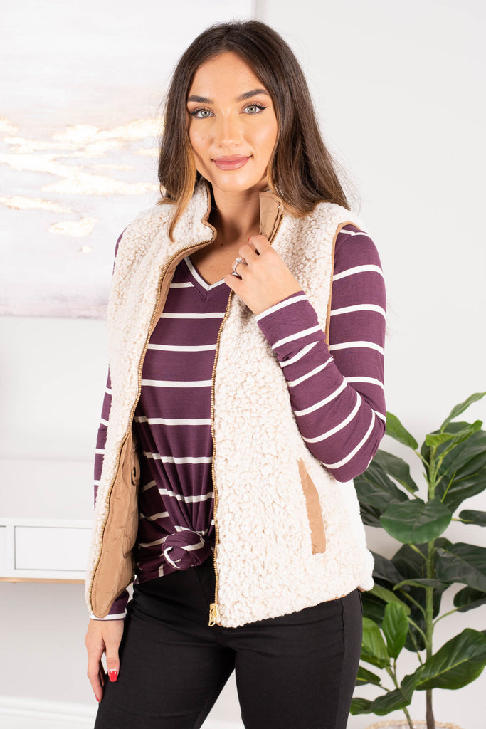 top, v-neck, long sleeve, curved hemline, striped print, purple, versatile, simple, layering, staple