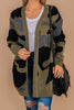 cardigan, long sleeves, thick knit fabric, pockets, camo print, green camo