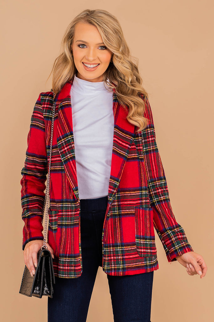 long sleeves, plaid print, collared neckline, lapel, pockets