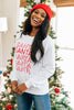 sweatshirt, white, graphic sweatshirt, long sleeves, round neckline, holiday graphic, fleece lined
