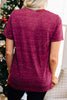 maroon marble graphic tee, round neckline, short sleeves, comfy, red
