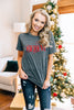 graphic tee, gray, short sleeves, round neckline, holiday graphic, glittery, shimmery, christmas graphic tee