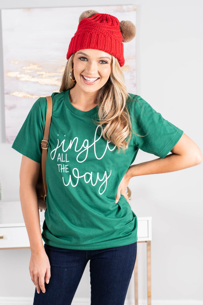 graphic tee, tee, short sleeves, holiday graphic, round neckline, green