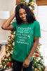 green, graphic tee, round neckline, short sleeves, holiday graphic