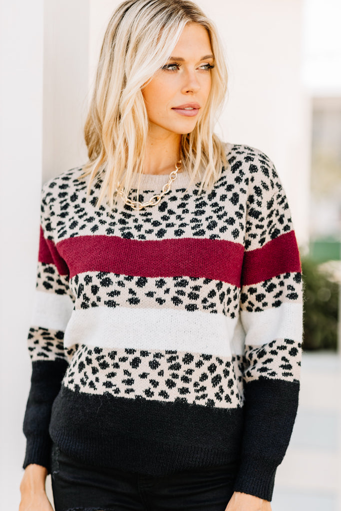 red cheetah print sweater, sweater, colorblock print, round neckline, long sleeves, cheetah print, animal print, leopard print sweater, colorblock sweater, mixed prints