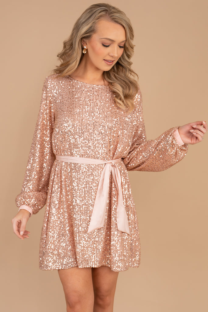 round neckline, long, bubble sleeves, tied waist, sequins