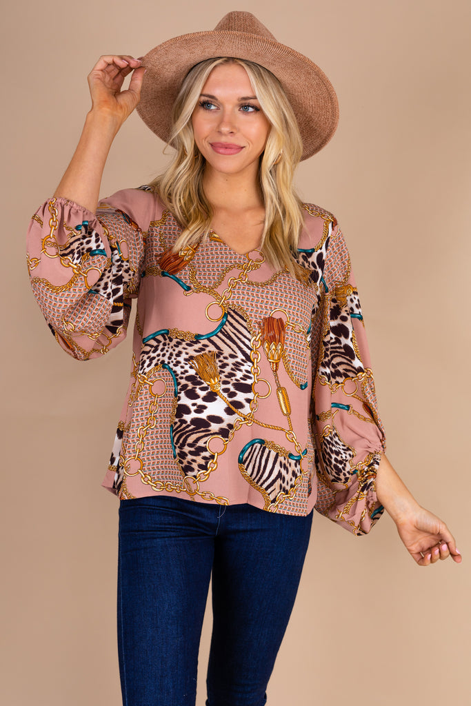 Intricate Feminine Mauve Pink Baroque Print Top Designer Inspired Top The Mint Julep Boutique