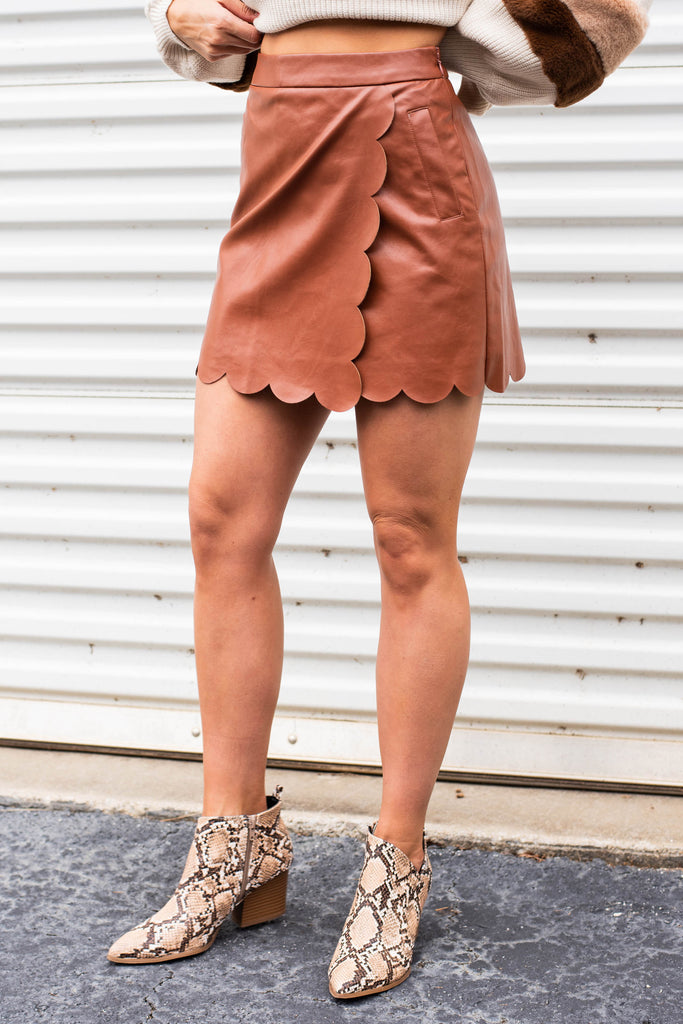 skirt, faux leather skirt, scalloped hem, side zip closure, overlapping detail, camel