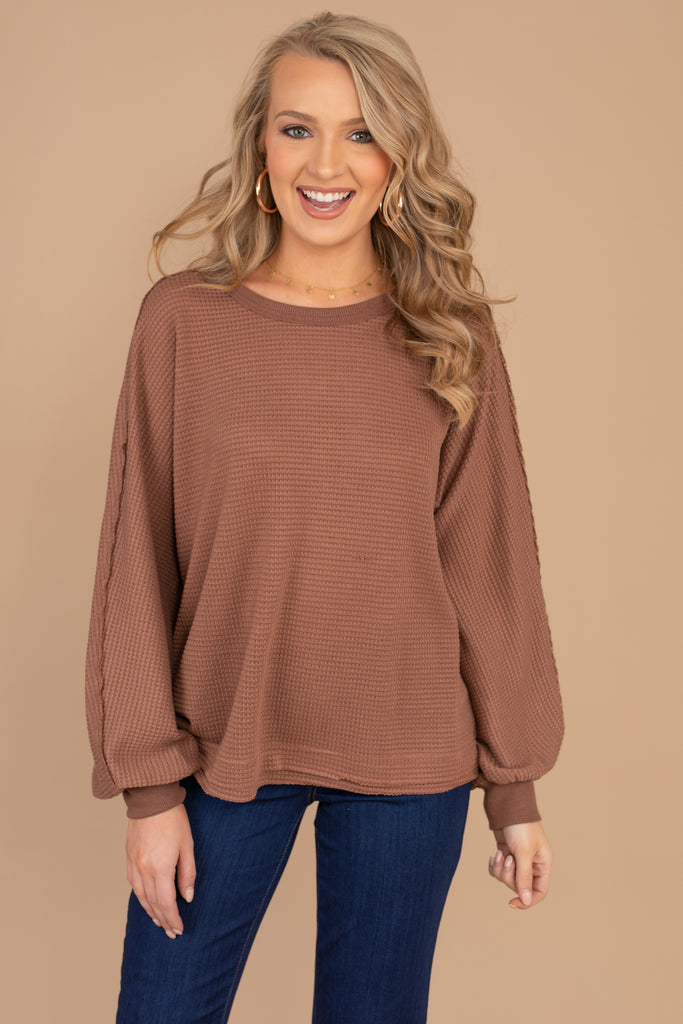 round neckline, bubble sleeves, waffle knit fabric
