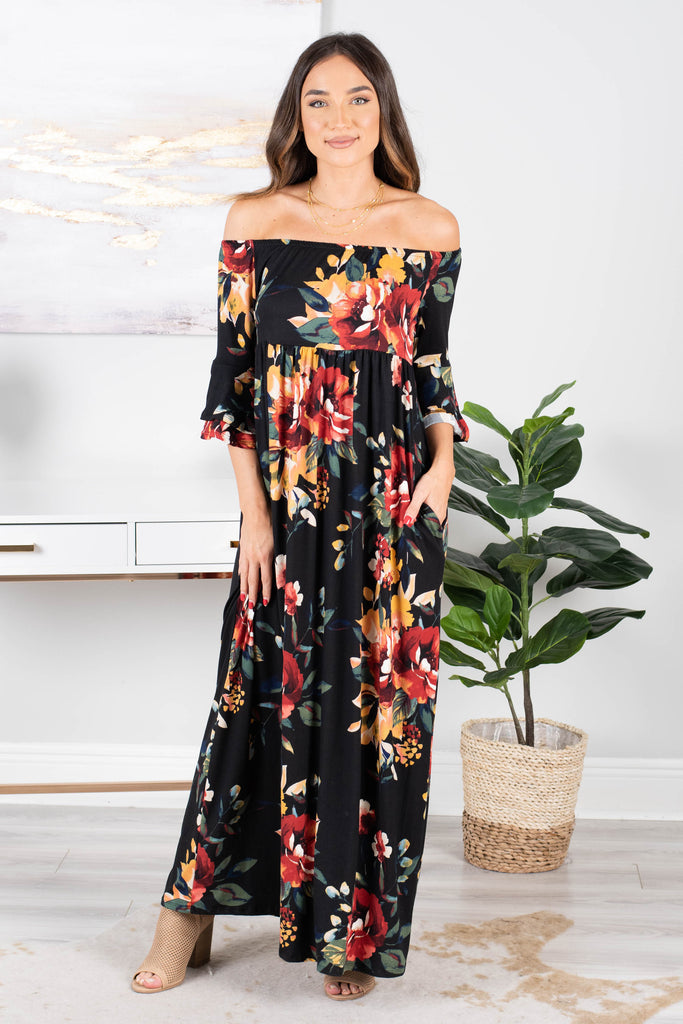 dress, off the shoulder neckline, flounced sleeves, soft jersey knit fabric, florals comfy, soft