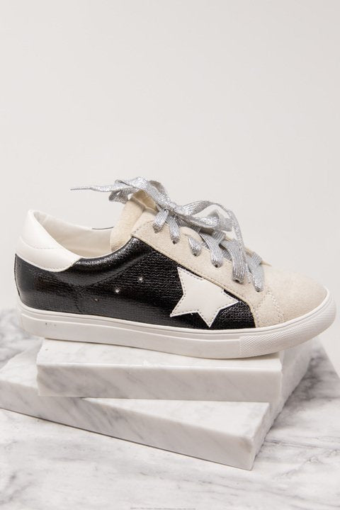 sneakers, metallic, black