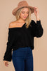 sweater, soft, waffle fabric, v-neckline, classic fit, black, long sleeves