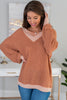 soft, waffle fabric, clay, sweater, v-neckline, classic fit