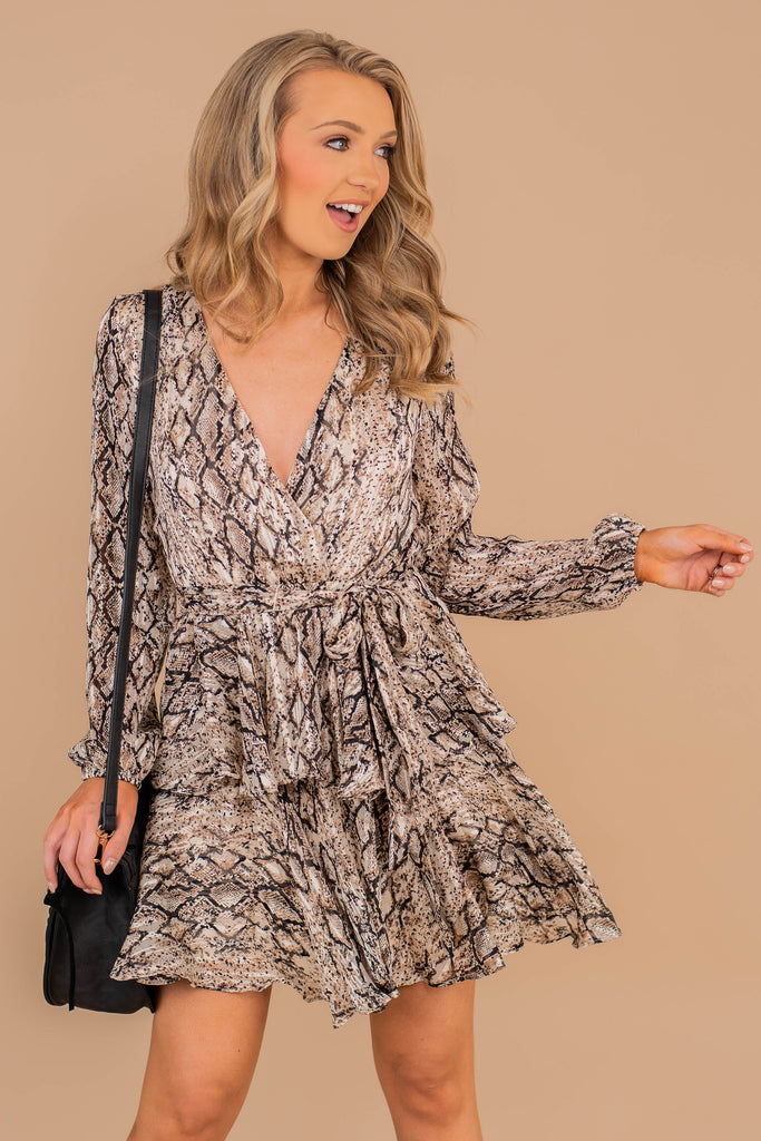 v-neck, long sleeves, tied waist, ruffles, snake print, party dress