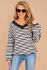 soft, waffle fabric, v-neckline, stripes, classic fit