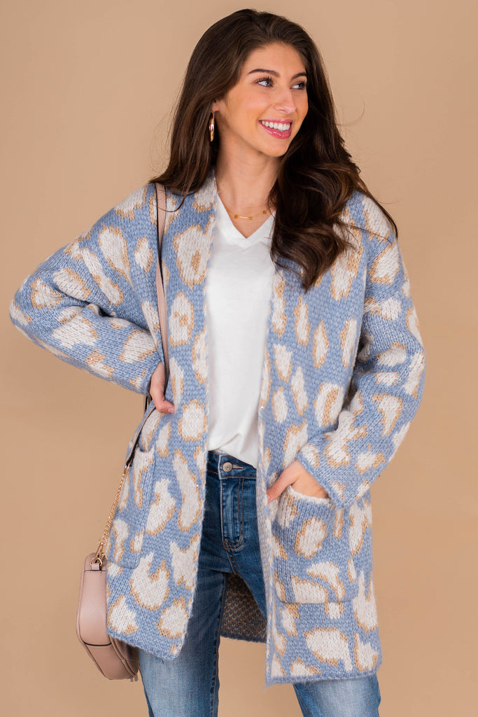 cardigan, leopard print, blue, bold, metallic threads, long sleeves, pockets, knit fabric, classic fit