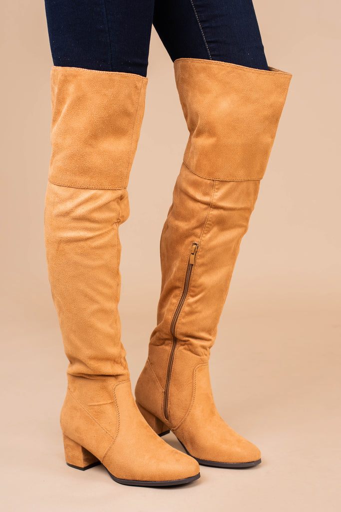 over the knee boots, boots, tan boots, chunky heels