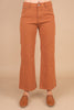 pants, wide leg pants, button zip front closure, functional front, back pockets, cropped wide leg, cropped jeans, orange