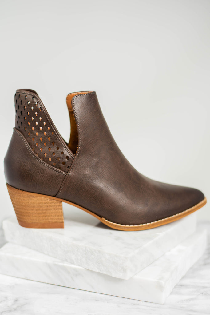 perforated booties, booties, brown booties, brown, chunky heels