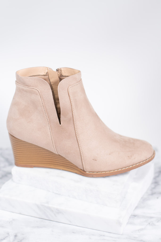 wedge booties, booties, brown wedge booties, side slits, neutral