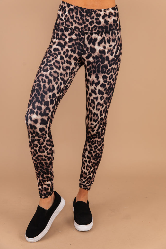 brown leopard leggings, leopard print, leggings, waistband, bold, workout, casual