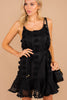 black dress, dress, swiss dot fabric, full lining, scoop neckline, flowy, flattering, tied waist, feminine