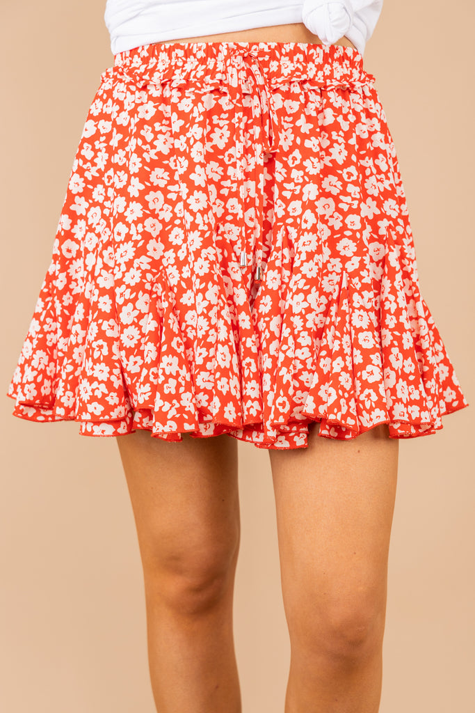 It's A Win Tomato Red Floral Skort