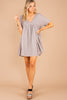 dress, babydoll fit, babydoll dress, ash gray, short sleeves, v-neckline, flowy