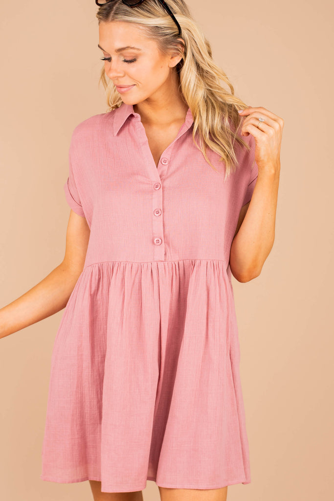Light Airy Dusty Rose Pink Babydoll