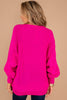 pink sweater, sweater, long sleeves, loose knit fabric, wide neckline, fuchsia pink, chic