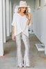 top, v-neckline, short flowy sleeves, solid coloring, generous fit, versatile, top, white top