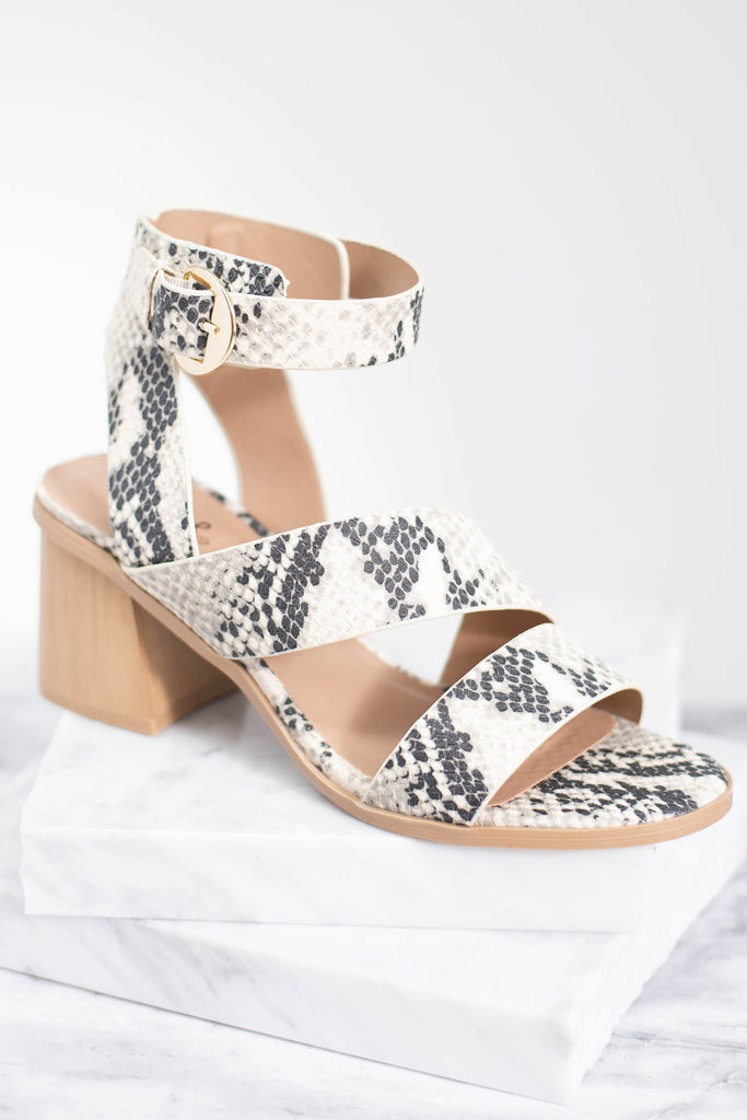 snake heels, block heels, snake print, chunky heels, thick straps, comfy, gray