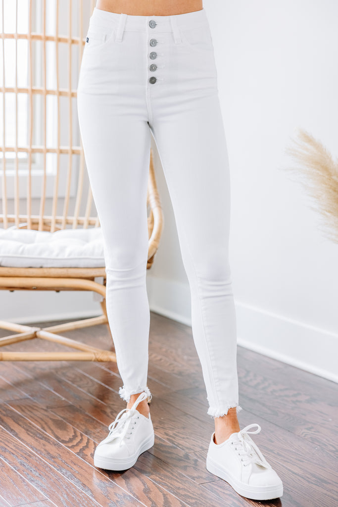 KanCan: Going Up White High Waist Skinny Jeans