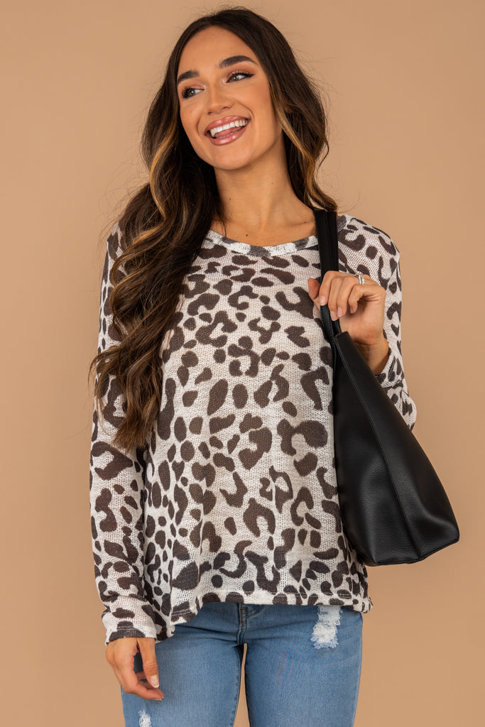 Just For You Off White Leopard Top