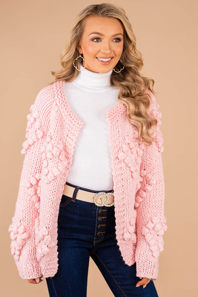 Love To Love Pink Pompom Cardigan