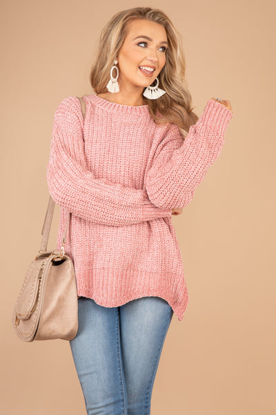Just A Softie Heather Mauve Pink Chenille Sweater