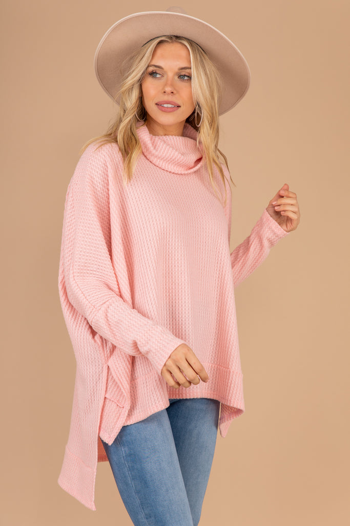 pink, turtleneck top, slouchy, long sleeves, high low hem, oversized fit, comfy, top