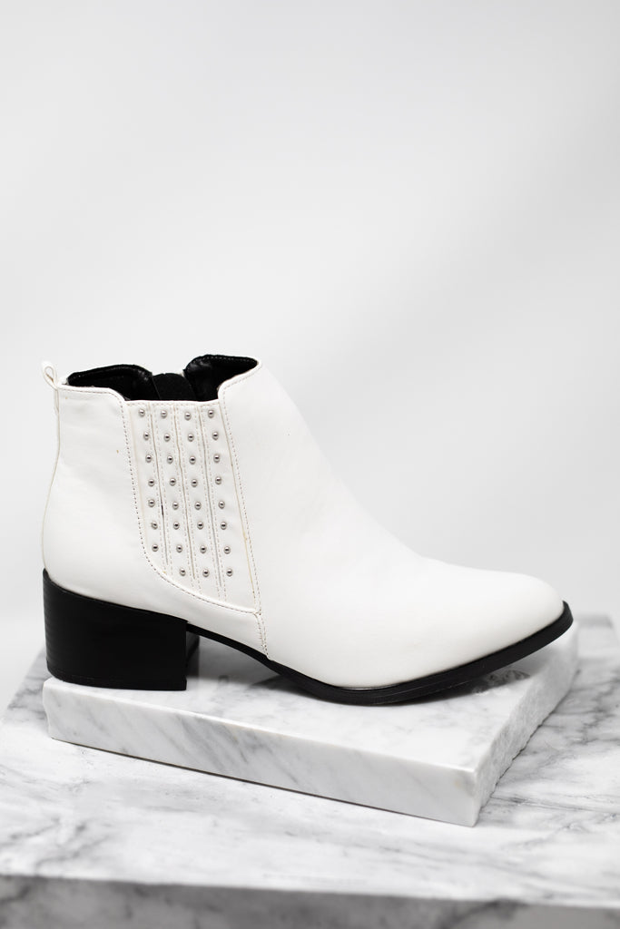 studs, black soles, white booties, booties, white, studded white booties
