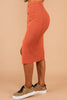 midi skirt, elastic waist, ribbed knit fabric, button down, orange, skirt, chic, sleeve, fitted, front slit
