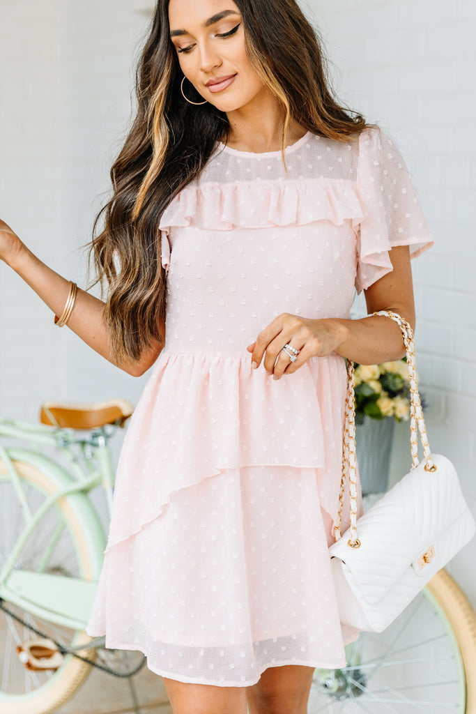pink dress, dress, short ruffled sleeves, round neckline, layered, full lining, swiss dot fabric, ruffled detailing, flowy, light, sheer