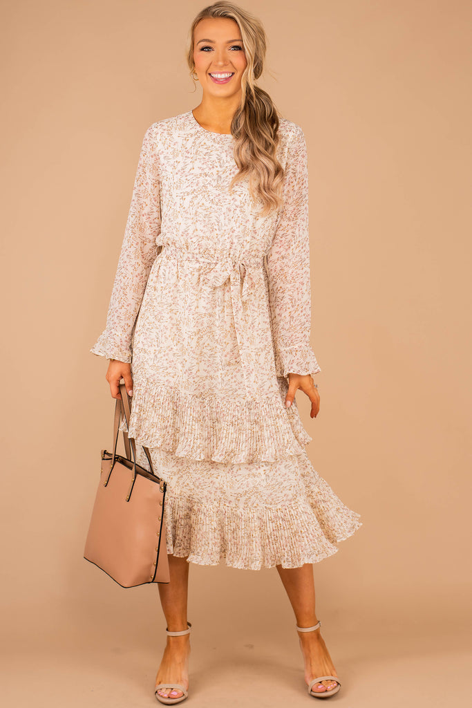Heartbreaker White Floral Midi Dress