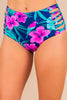 bikini bottoms, floral print, blue, full lining, strappy sides, high rise cut, matching set