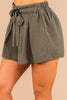 green shorts, shorts, pleated shorts, tied waist, pockets, flowy, comfy