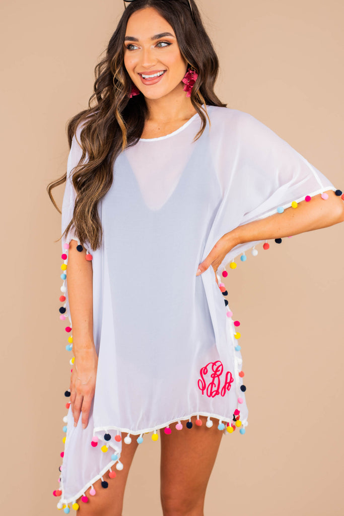 tunic, pompom, white tunic, multicolored pompoms, sheer fabric, round neckline, short sleeves, light, cover up
