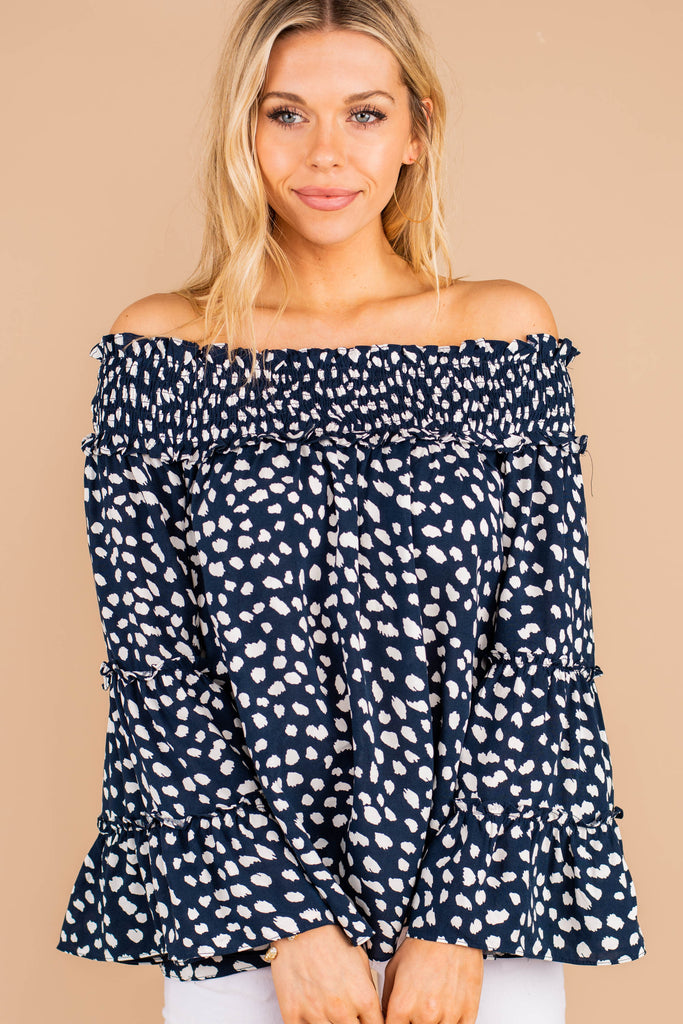 smocked off the shoulder neckline, spotted leopard print, long bell sleeves, top, navy blue top, spotted leopard print top