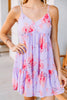 floral print, dress, purple, skinny straps, floral dress, sun dress