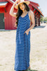 generous fit, pockets, stripes, maxi dress, dress, blue striped dress, navy blue, v-neckline, skinny straps