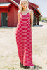 generous fit, pockets, stripes, maxi dress, dress, red striped dress, ruby red, v-neckline, skinny straps
