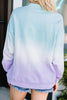 round neckline, long sleeves, purple ombre, sweatshirt, ombre sweatshirt