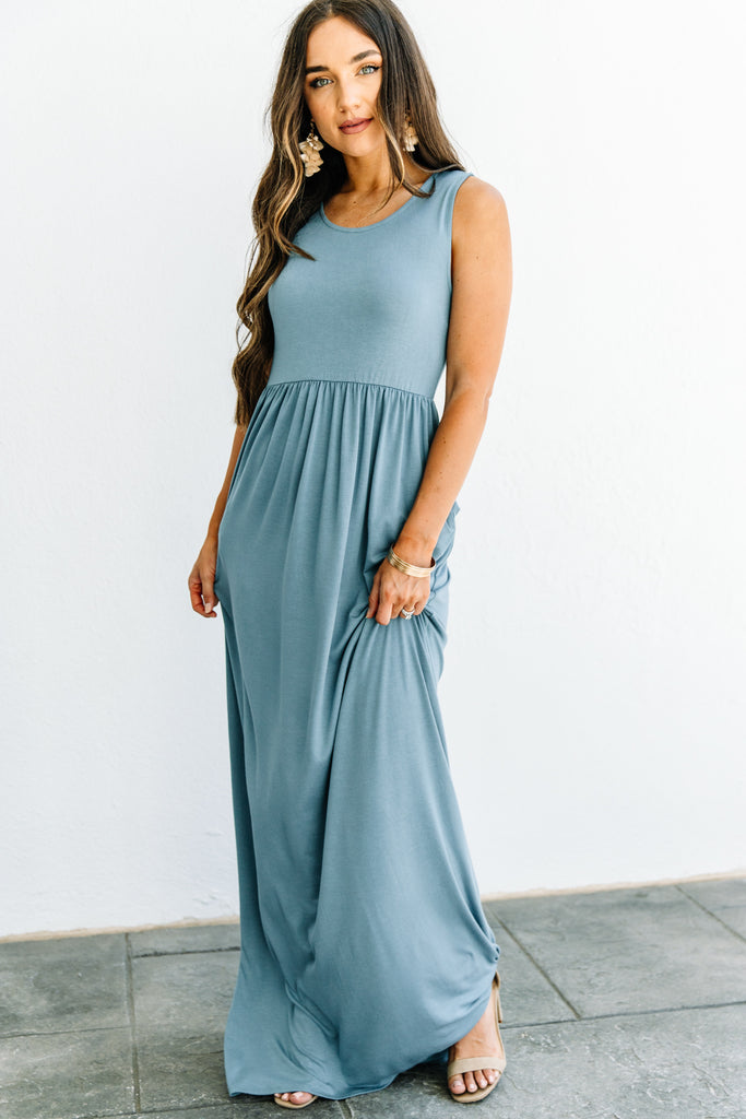 empire waist, tank straps, scoop neckline, blue gray, maxi dress, dress